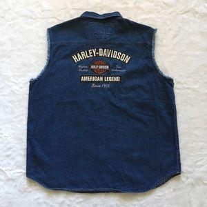 Harley-Davidson Motorcycle Denim Sleeveless Shirt